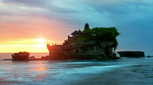 Sunset in Bali at Tanah Lot