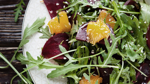 Delicious looking beetroot and rocket salad